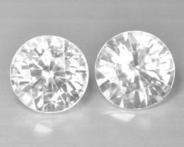 6.28 Cts Natural White Zircon Diamond Cut 2 Pcs