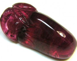 DEEP PINK  TOURMALINE CARVING  1.90CTS  AG 234