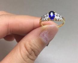 Stunning Cert $900 Nat 0.67ct 14K Sol Gold Blu Sapphire Ring