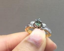 (LBA) Amazing $1200 Nat 0.44ct Alexandrite&Diamond 14K Yllw Sol Gold Rin