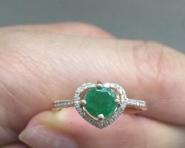 $2100 Designer Nat 0.75ct Col Emerald & Diamond 10k Solid Rose Gold Rin