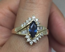 Amazing $2950 Nat 0.7ct Sapphire&Diamond Ring 10K Sol Ylw Gold Untreate
