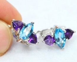 NR Lot 06 ~ 4.98g Natural Topaz, Amethyst Silver Earrings