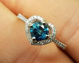 $2600 New Nat 0.85tcw Designer Blu&Wht Diamond Ring 10K Sol Wht Gold