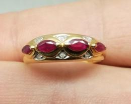 Very Rare $3195 Nat 1.27ct Vin Designer Ruby&Diamond Ring 14K Sol Ylw G