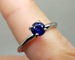 Enchanting $1725 New Nat 0.60ct Ceylon Sapp Engagement Ring 14K Sol Wht Gol