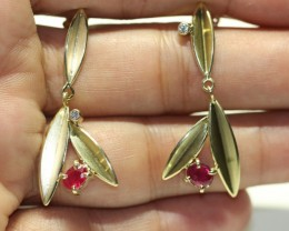Earrings UN-TREATED RUBY and Gold