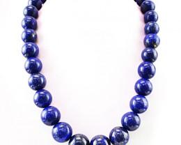 Genuine 1279.50 Cts Blue Lapis Lazuli Round Shape Beads Necklace - Wow