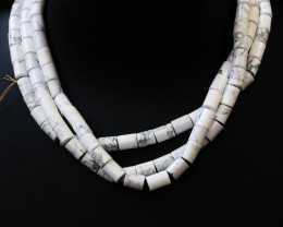 Three Natural polished Howlite strand beads GOGO 1782