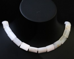 Natural polished White Agate strand beads GOGO 1786