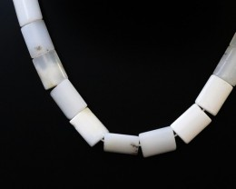 Natural polished White Agate strand beads GOGO 1787
