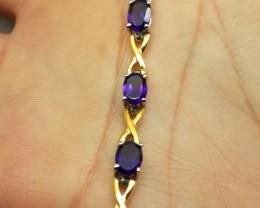 Amazing Nat 66.5tcw. Amethyst 2Tone Wht&Ylw Gold Bracelet Untreated