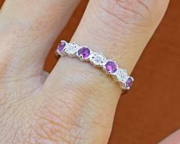No Reserve Rhodolite Garnet 925 Sterling Silver Ring (SSR0250)