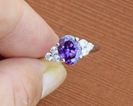 No Reserve Amethyst 925 Sterling Silver Ring Size 7.5 (SSR0114)