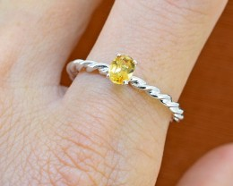 No Reserve Citrine 925 Sterling Silver Ring Size 8 (SSR0251)