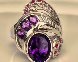 A Fancy Amethyst Ruby Sterling Silver Ring Size 9.5