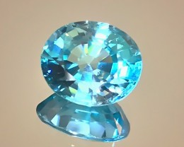 4.33ct Electric Blue Zircon VVS Dazzler