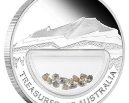 Treasures of Australia Diamonds 1oz Silver Proof Locket Coin