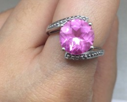Rare $1500 Nat 4.50ct  Violet/Pink Sapphire Ring 10K Sol Gold