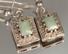 15.90 CTW NEPHRITE JADE AND STERLING SILVER EARRINGS