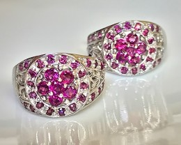 Rapturous Rhodolite Gem Earrings Sterling Silver 14kt White Gold
