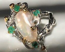 Organic Pearl Emerald Sterling Silver Gold Ring Size 10.5