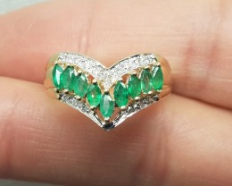 Amazing $3500 Nat 0.95tcw Authentic Emerald And Diamond Ring 14K Sol Gold