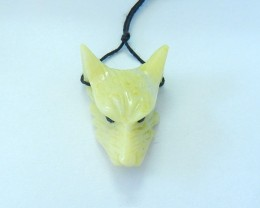 25.5ct Natural Serpentine Handcarved Wolf Head Necklace Pendant(17100901)