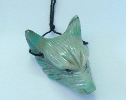 50ct Natural Chrysocolla Handcarved Wolf Head Necklace Pendant(17100903)