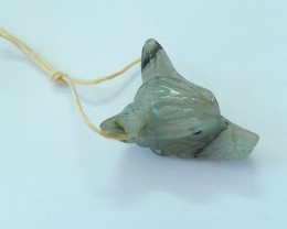 22ct Natural Labradorite Handcarved Wolf Head Necklace Pendant(17100904)