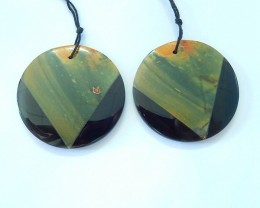 85ct Natural Muti Color Picasso Jasper and Obsidian Intarsia Round Earrings