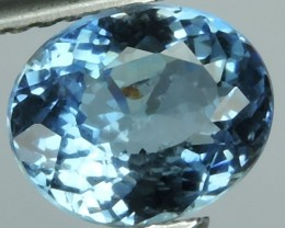 1.35 Cts Sparkling Luster - Oval Gem - Natural Top Blue Aquamarine