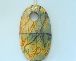 128.5ct Natural Muti Color Picasso Jasper Necklace Pendant(17100910)