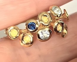 Sapphire Topaz  .925 Sterling Silver Gold Ring No Reserve