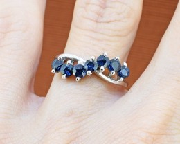 No Reserve Midnight Blue Sapphire 925 Sterling Silver Ring Size 5 US (SSR00