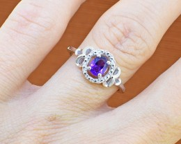 No Reserve Amethyst 925 Sterling Silver Ring Size 5 US(SSR0252)