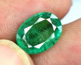 3.00 Carats Oval Cut Deep Color Beautifull Zambian Emerald Gemstone
