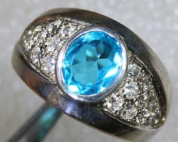39CTS TOPAZ AND QUARTZ SILVER RING SG-2507