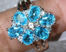 39.8CTS TOPAZ AND QUARTZ SILVER RING SG-2510