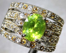 45CTS PERIDOT AND QUARTZ SILVER RING SG-2511