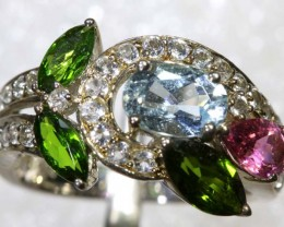24CTS TOPAZ QUARTZ AND DIOPSIDE SILVER RING SG-2519