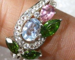 21CTS TOPAZ QUARTZ AND DIOPSIDE  SILVER RING SG-2521