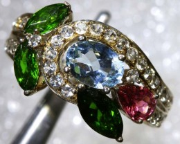 22CTS TOPAZ QUARTZ AND DIOPSIDE  SILVER RING SG-2522