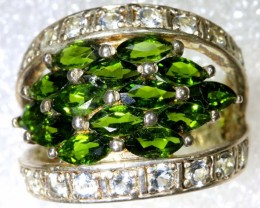 48CTS DIOPSIDE AND QUARTZ SILVER RING SG-2523