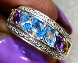 20CTS TOPAZ AMETHYST AND CITRINE SILVER RING SG-2524