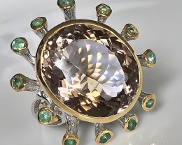 A Contemporary Ametrine Emerald Ring Size 8