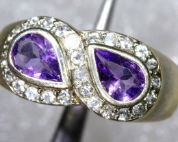 23.8CTS AMETHYST AND QUARTZ SILVER RING SG-2541