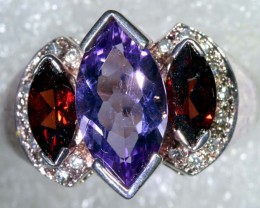 33CTS AMETHYST GARNET AND QUARTZ SILVER RING SG-2544