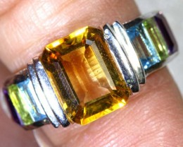 30CTS CITRINE TOPAZ PERIDOT AND AMETHYST  SILVER RING SG-2556
