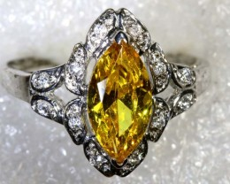 14.5CTS CITRINE AND QUARTZ SILVER RING SG-2557